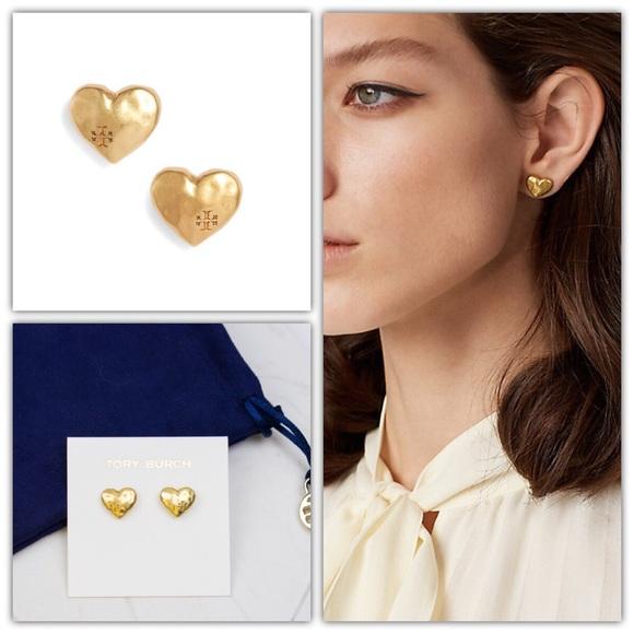 290c2db8c Tory Burch Jewelry | Heart Stud Earring Vintage Gold | Poshmark